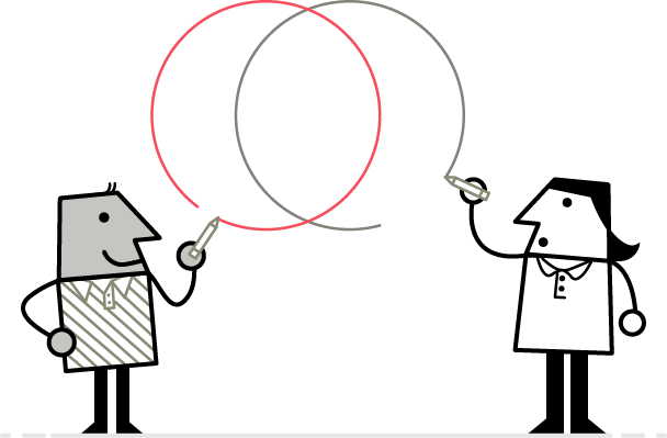 Illustration of two LUMAtic characters drawing overlapping circles to show collaboration.