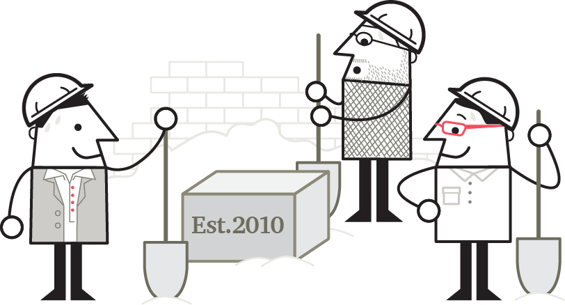 Illustration of three LUMAtics representing LUMA's three co-founders, shown standing with shovels around a cornerstone that reads