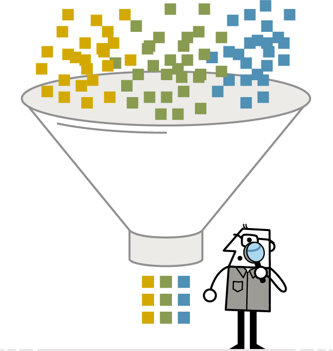 Illustration showing yellow, green and blue squares, representing Looking, Understanding and Making Human-Centered Design methods, falling into a vertical funnel and coming out the bottom as an orderly system, as LUMAtic character watches.