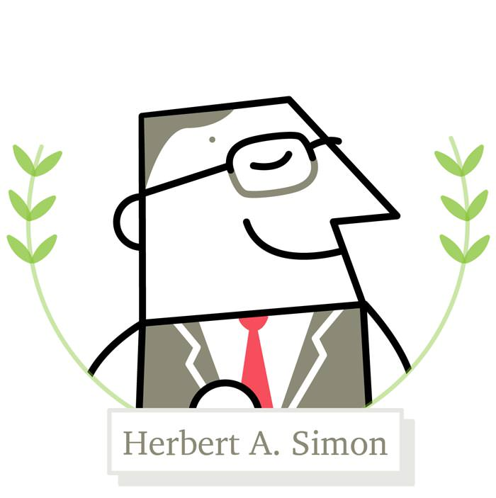 Illustration of designer and Nobel laureate Herbert A. Simon