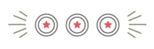 Illustration of three circles with black outlines and red stars in the center to represent