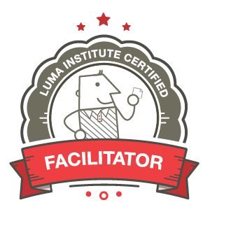 Illustration of the LUMA Institute Facilitator certification badge