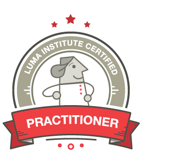 Illustration of the LUMA Institute Practitioner certification badge