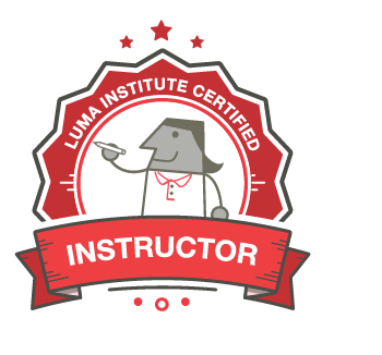 Illustration of the LUMA Institute Instructor certification badge