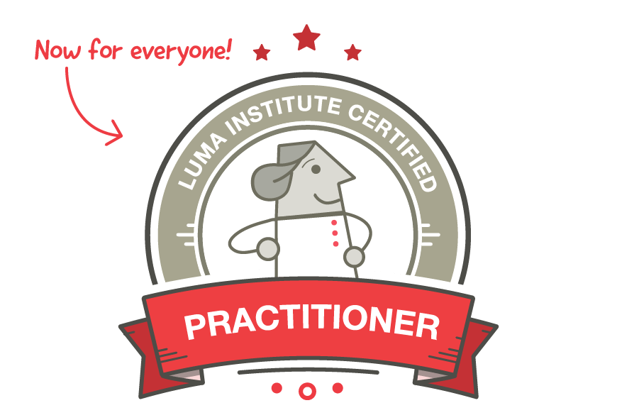 Illustration of a LUMA Institute Practitioner certification badge with a callout that says