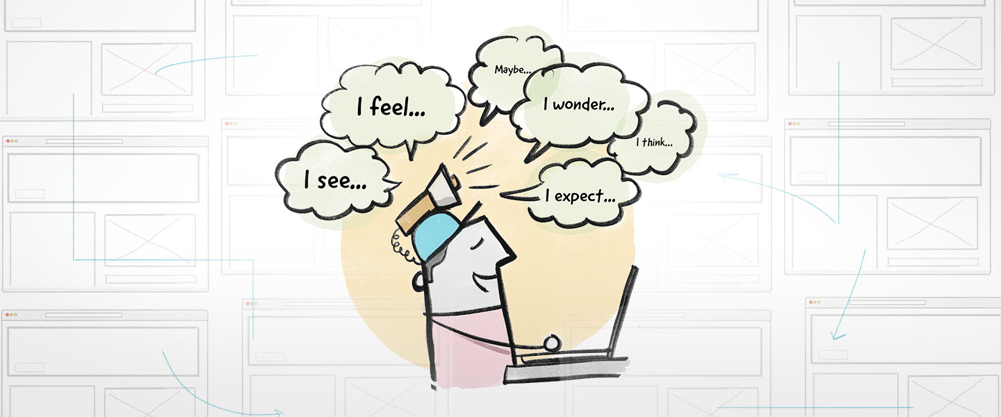 """A graphic illustrating a person sitting at a computer participating in a Think-aloud Test. Speech bubbles that read """"I see..."""" and """"I feel..."""" are above the person's head"""